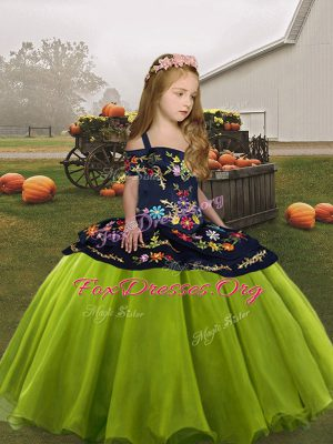 Eye-catching Olive Green Lace Up Little Girls Pageant Dress Wholesale Embroidery Sleeveless Floor Length
