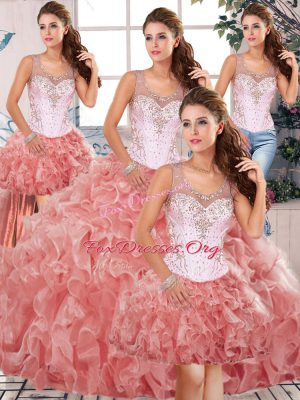 Most Popular Watermelon Red Sleeveless Beading and Ruffles Floor Length Quinceanera Dress