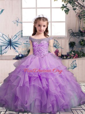 Off The Shoulder Sleeveless Lace Up Kids Formal Wear Lilac Organza