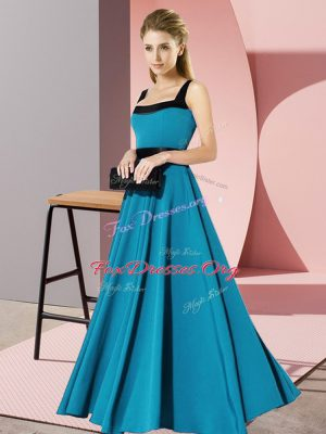 Cute Floor Length Teal Dama Dress for Quinceanera Square Sleeveless Zipper