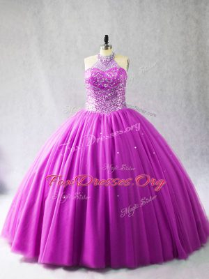 Lilac Ball Gowns Halter Top Sleeveless Tulle Brush Train Lace Up Beading Quinceanera Gown