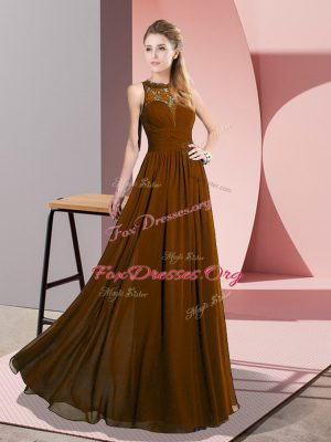 Comfortable Brown Chiffon Zipper Scoop Sleeveless Floor Length Prom Gown Lace