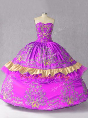 Luxurious Floor Length Lace Up Quince Ball Gowns Purple for Sweet 16 and Quinceanera with Embroidery and Bowknot