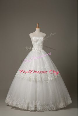 Gorgeous Sleeveless Floor Length Beading and Lace Lace Up Bridal Gown with White