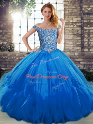 Luxurious Beading and Ruffles Quinceanera Dress Blue Lace Up Sleeveless Floor Length