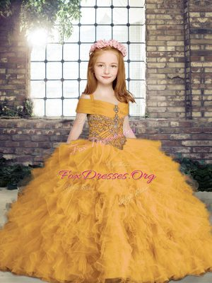Gold Ball Gowns Beading Little Girl Pageant Dress Lace Up Tulle Sleeveless Floor Length