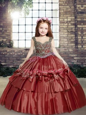 Unique Red Taffeta Lace Up Kids Formal Wear Sleeveless Floor Length Beading