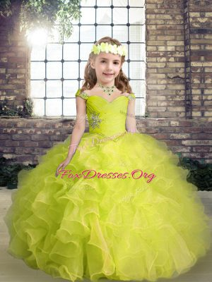 Fashion Yellow Green Ball Gowns Organza Straps Sleeveless Beading and Ruffles Floor Length Lace Up Little Girls Pageant Dress