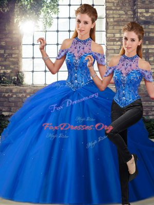 Excellent Blue Sleeveless Tulle Brush Train Lace Up Quinceanera Dresses for Military Ball and Sweet 16 and Quinceanera
