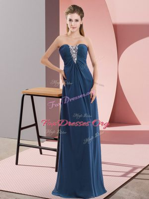 Lovely Navy Blue Sweetheart Zipper Beading Homecoming Gowns Sleeveless