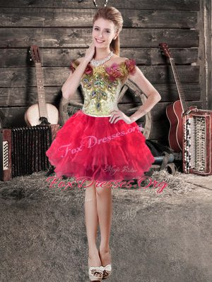 New Style Red Off The Shoulder Lace Up Hand Made Flower Cocktail Dresses Sleeveless
