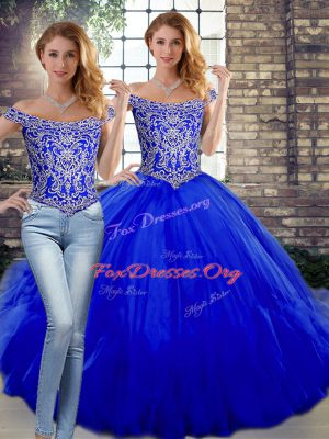 Flare Sleeveless Tulle Floor Length Lace Up Ball Gown Prom Dress in Royal Blue with Beading and Ruffles