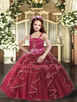 Top Selling Burgundy Straps Neckline Beading and Ruffles Kids Formal Wear Sleeveless Lace Up