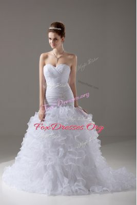 Classical White Wedding Dresses Wedding Party with Beading and Ruffles Sweetheart Sleeveless Brush Train Lace Up