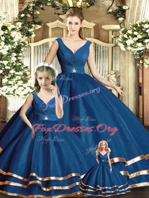 Amazing Navy Blue Quinceanera Dress Military Ball and Sweet 16 and Quinceanera with Beading and Ruffled Layers V-neck Sleeveless Backless