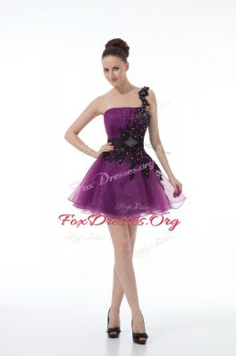 Edgy Eggplant Purple A-line One Shoulder Sleeveless Organza Mini Length Zipper Beading and Lace and Appliques Club Wear