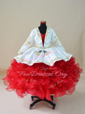 Excellent Sweetheart Sleeveless Lace Up Custom Made Pageant Dress White And Red Organza