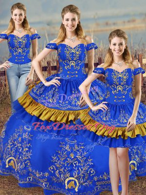 Customized Sleeveless Satin Lace Up Ball Gown Prom Dress in Blue with Embroidery