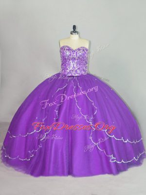 Sweetheart Sleeveless Ball Gown Prom Dress Brush Train Beading and Sequins Purple Tulle
