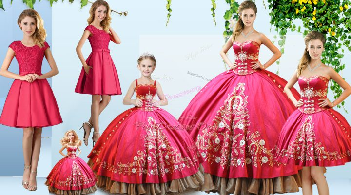 Delicate Hot Pink Sleeveless Satin Lace Up Quinceanera Gowns for Sweet 16 and Quinceanera