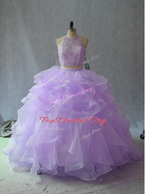 Lavender Sleeveless Organza Backless Sweet 16 Dresses for Sweet 16 and Quinceanera