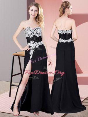 Black Zipper Homecoming Dress Lace and Appliques Sleeveless Floor Length