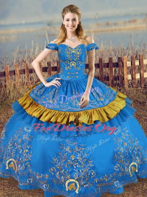 Traditional Sleeveless Lace Up Floor Length Embroidery Sweet 16 Quinceanera Dress