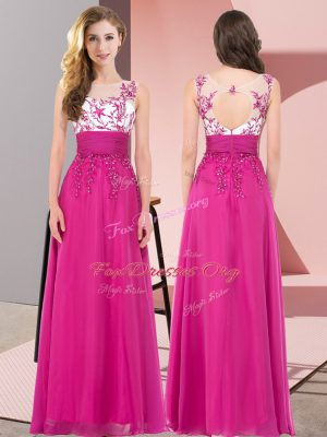Fuchsia Sleeveless Floor Length Appliques Backless Bridesmaid Dress