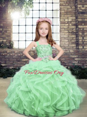 Fashion Apple Green Lace Up Pageant Gowns For Girls Beading and Ruffles Sleeveless Floor Length