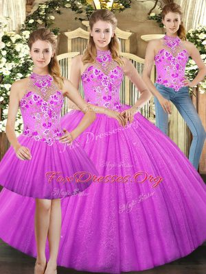 High Class Floor Length Lace Up Sweet 16 Dresses Lilac for Military Ball and Sweet 16 and Quinceanera with Embroidery