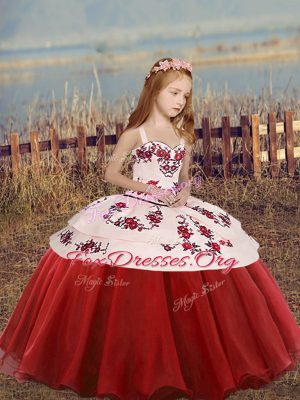 Custom Made Red Straps Lace Up Embroidery Child Pageant Dress Sleeveless