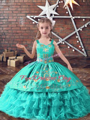 Turquoise Ball Gowns Straps Sleeveless Satin and Organza Floor Length Lace Up Embroidery and Ruffled Layers Kids Formal Wear