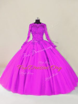 Most Popular Long Sleeves Lace and Appliques Zipper Vestidos de Quinceanera