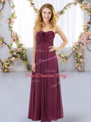 Discount Burgundy Sweetheart Lace Up Ruffles Quinceanera Court Dresses Sleeveless