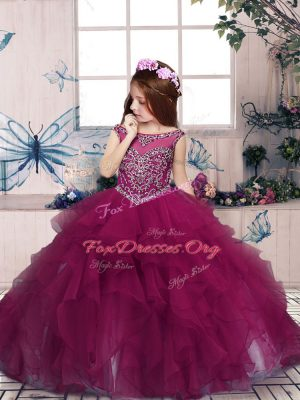 Dramatic Organza Scoop Sleeveless Zipper Beading and Ruffles Little Girls Pageant Gowns in Fuchsia