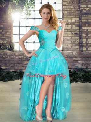 Excellent A-line Aqua Blue Off The Shoulder Tulle Sleeveless High Low Lace Up