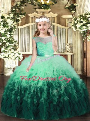 Multi-color Ball Gowns Scoop Sleeveless Tulle Floor Length Backless Lace and Ruffles Winning Pageant Gowns
