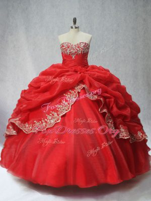 Red Sweetheart Lace Up Appliques and Pick Ups Sweet 16 Quinceanera Dress Sleeveless