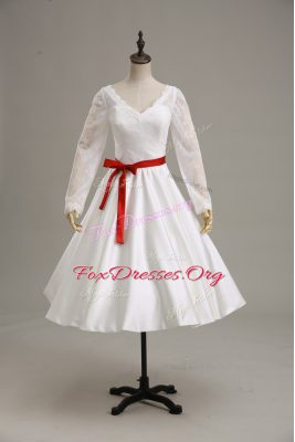 Great White Satin Clasp Handle Wedding Dresses Long Sleeves Tea Length Lace and Sashes ribbons