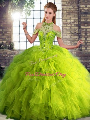 Pretty Floor Length Olive Green Ball Gown Prom Dress Tulle Sleeveless Beading and Ruffles
