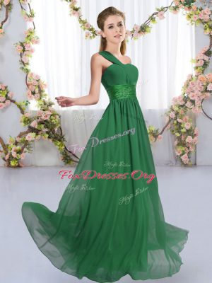 Free and Easy Empire Bridesmaid Dresses Dark Green One Shoulder Chiffon Sleeveless Floor Length Lace Up