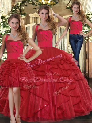 Great Red Three Pieces Straps Sleeveless Tulle Floor Length Lace Up Ruffles Quinceanera Gowns