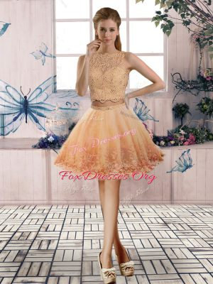 Gold Two Pieces Scoop Sleeveless Tulle Mini Length Backless Beading and Lace Cocktail Dresses