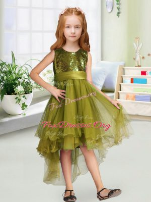 A-line Toddler Flower Girl Dress Olive Green Scoop Organza Sleeveless High Low Zipper