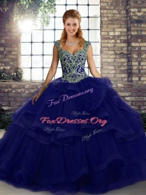 Classical Purple Lace Up Straps Beading and Ruffles 15th Birthday Dress Tulle Sleeveless