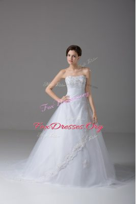 White Ball Gowns Strapless Sleeveless Tulle Brush Train Lace Up Beading and Lace Bridal Gown
