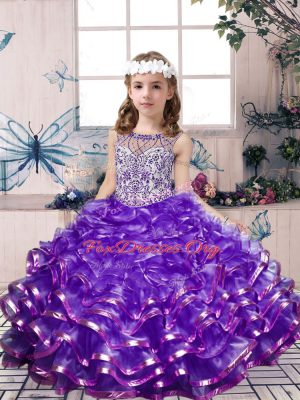 Beauteous Ball Gowns Kids Formal Wear Lavender Scoop Organza Sleeveless Floor Length Lace Up