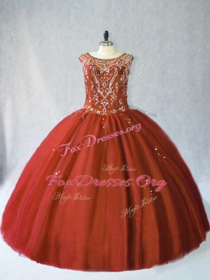 Rust Red Lace Up Quince Ball Gowns Beading Sleeveless Floor Length