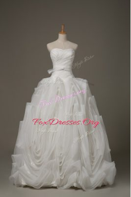 Elegant Fabric With Rolling Flowers Sleeveless Wedding Gown Brush Train and Belt