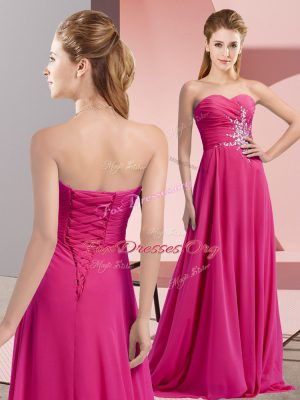Floor Length Lace Up Fuchsia for Prom and Party with Beading and Ruching